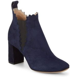 Chloe Lauren Scalloped Suede Ankle Boot NWT